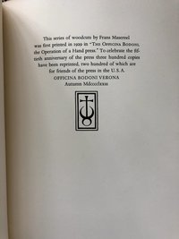 The Making of a Book at the Officina Bodoni: Twelve Woodcuts by Frans Masereel (USED)