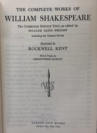 Complete Works of William Shakespeare: The Cambridge Edition Text, as edited by William Aldis Wright, including the Temple Notes, illustrated by Rockwell Kent (USED)